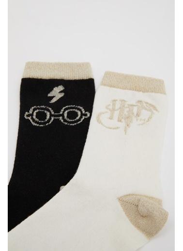 DeFacto Kız Çocuk Harry Potter Lisanslı 2'li Soket Çorap Camel